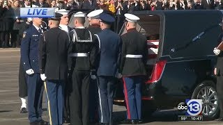 President George HW Bush's casket departs Houston for Washington DC