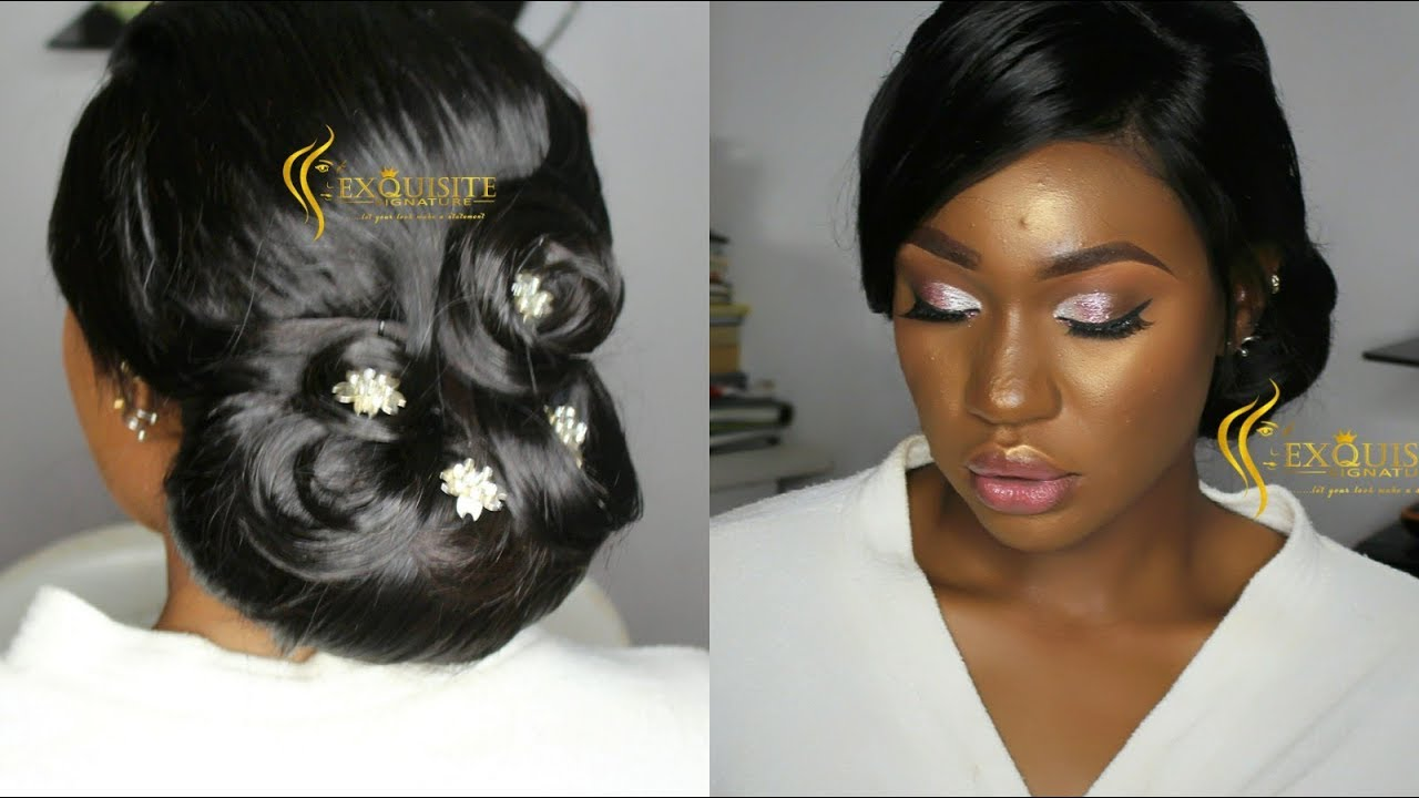 how to bridal hair updo and makeup / nigeria wedding makeup / acne  covering/ sponsored by hairspells