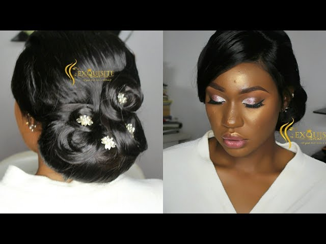 How To Bridal Hair Updo And Makeup Nigeria Wedding Makeup Acne Covering Sponsored By Hairspells Youtube