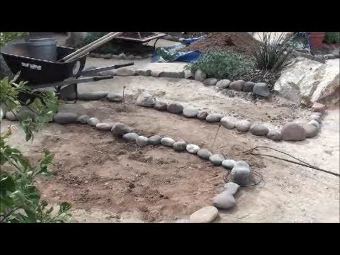 building a garden bed with rock border arizona landscaping and backyard design youtube. Black Bedroom Furniture Sets. Home Design Ideas