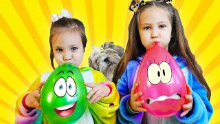 Learn colors with Balloons ! Kids and puppy have fun playtime with color song