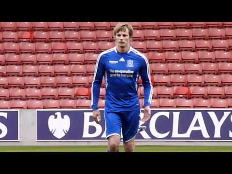 Bradley James Warming Up For The Big Match