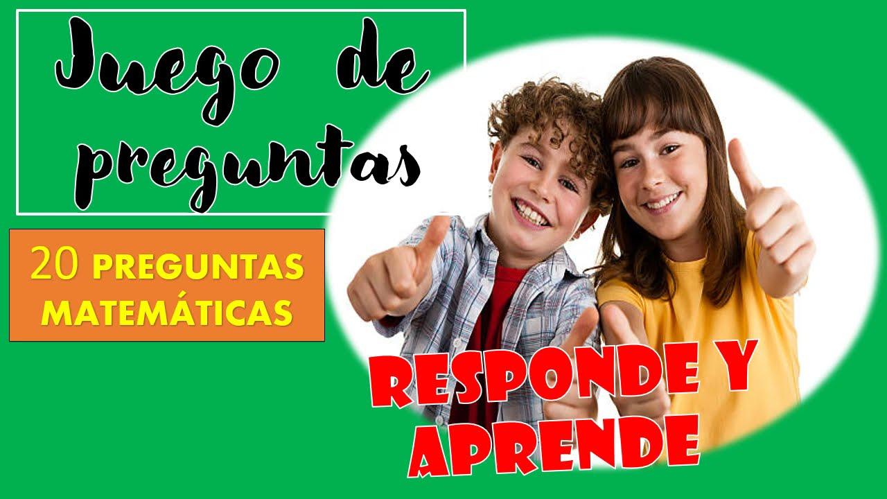 JUEGO DE PREGUNTAS - 20 PREGUNTAS DE MATEMÁTICAS