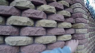 Забор из рваного кирпича ФАГОТ чешуйчатой кладки (видео обзор)