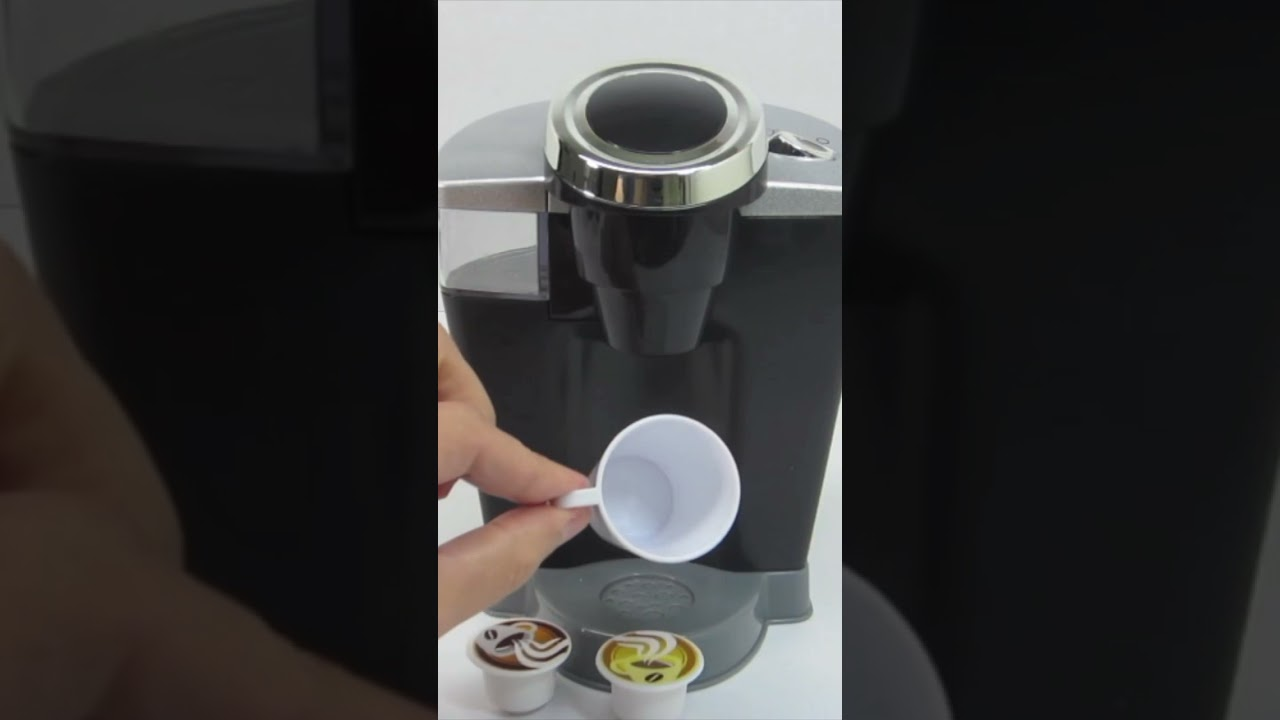Making Coffee in Kitchen Toy Coffee Maker