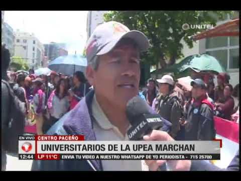 Estudiantes de la UPEA marchan en el centro paceño por falta de presupuesto