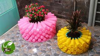Vasos e Enfeites de Jardins Usando Garrafas Plásticas Recicladas