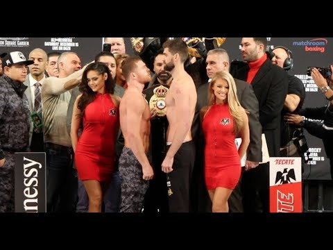 SIZE DIFFERENCE! -  SAUL CANELO ALVAREZ v ROCKY FIELDING - FULL OFFICIAL WEIGH-IN (NEW YORK CITY)