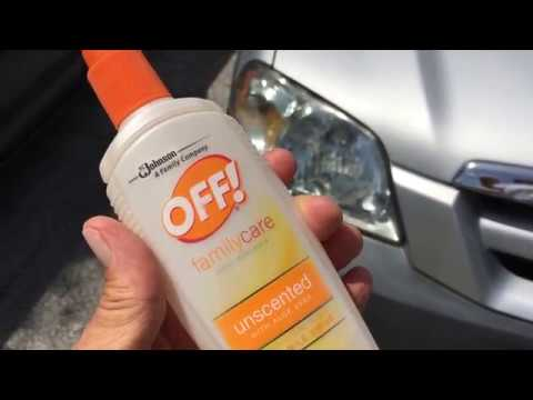 How to clean sun damage car headlights with Off bug spray!.