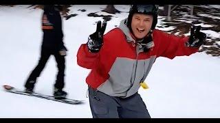 My first time on a snowboard / Mana pirmā reize uz sniega dēļa