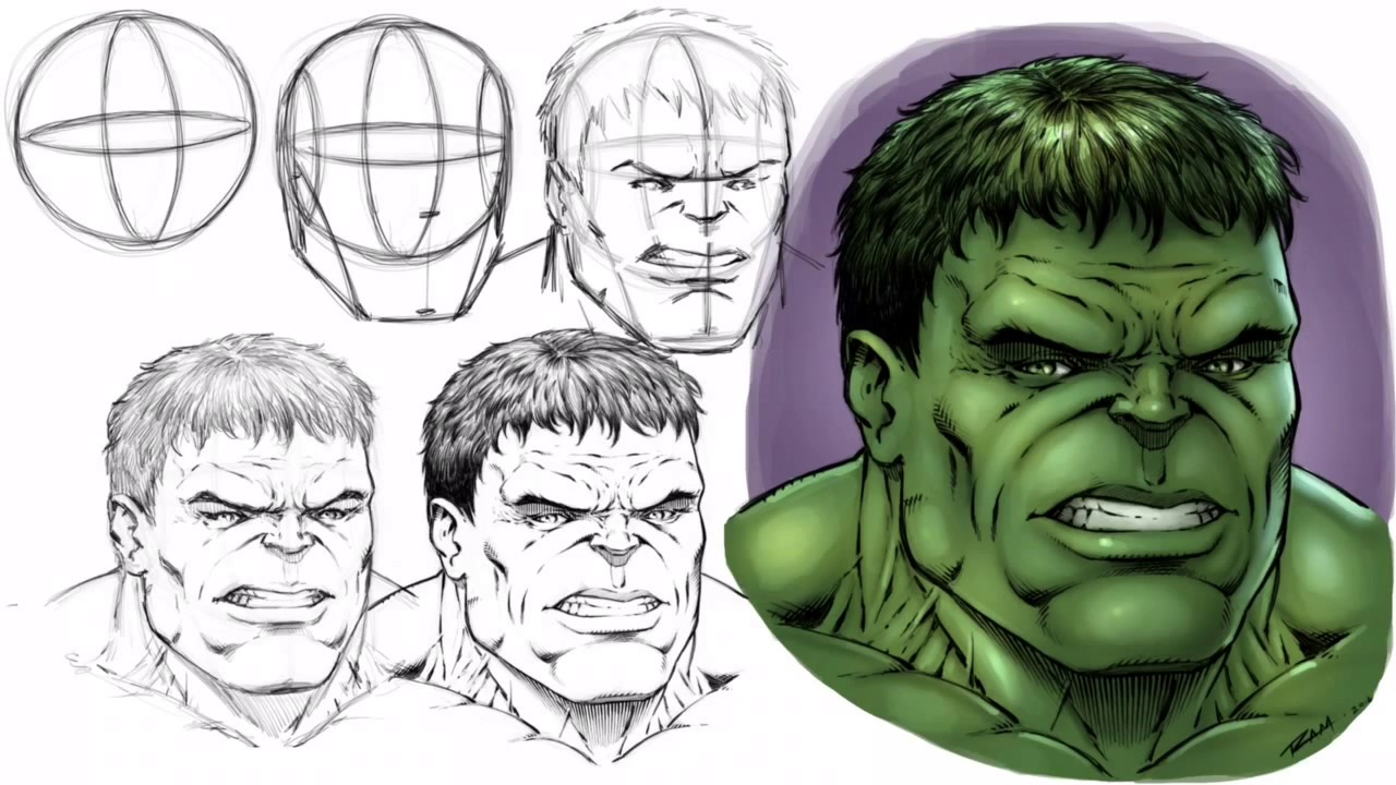 How To Draw The Hulku0027s Face   Step By Step   YouTube
