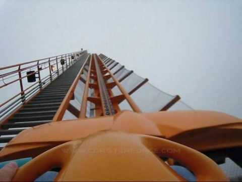 Behemoth in the clouds Front Seat on-ride POV Canada's Wonderland
