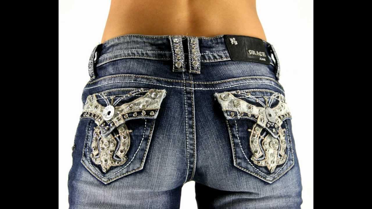 Grace In La Western Buckle Studded Denim Jeans Youtube