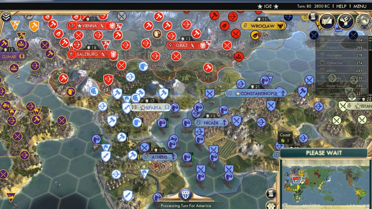 Civ 5 43 AI Only World Domination – Civ 5 World Map