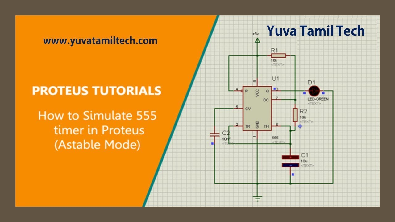 How To Simulate 555 Timer Ic In Proteus Software Astable Mode Flasher Circuit Diagram