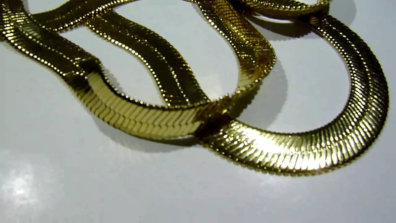 75 Lab Made 28 Quot Gold Herringbone Chain Necklace Old
