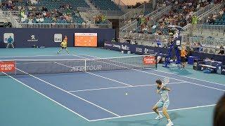 Thiem v. Hurkacz (Court Level View) 60FPS HD Miami Open 2019 R2