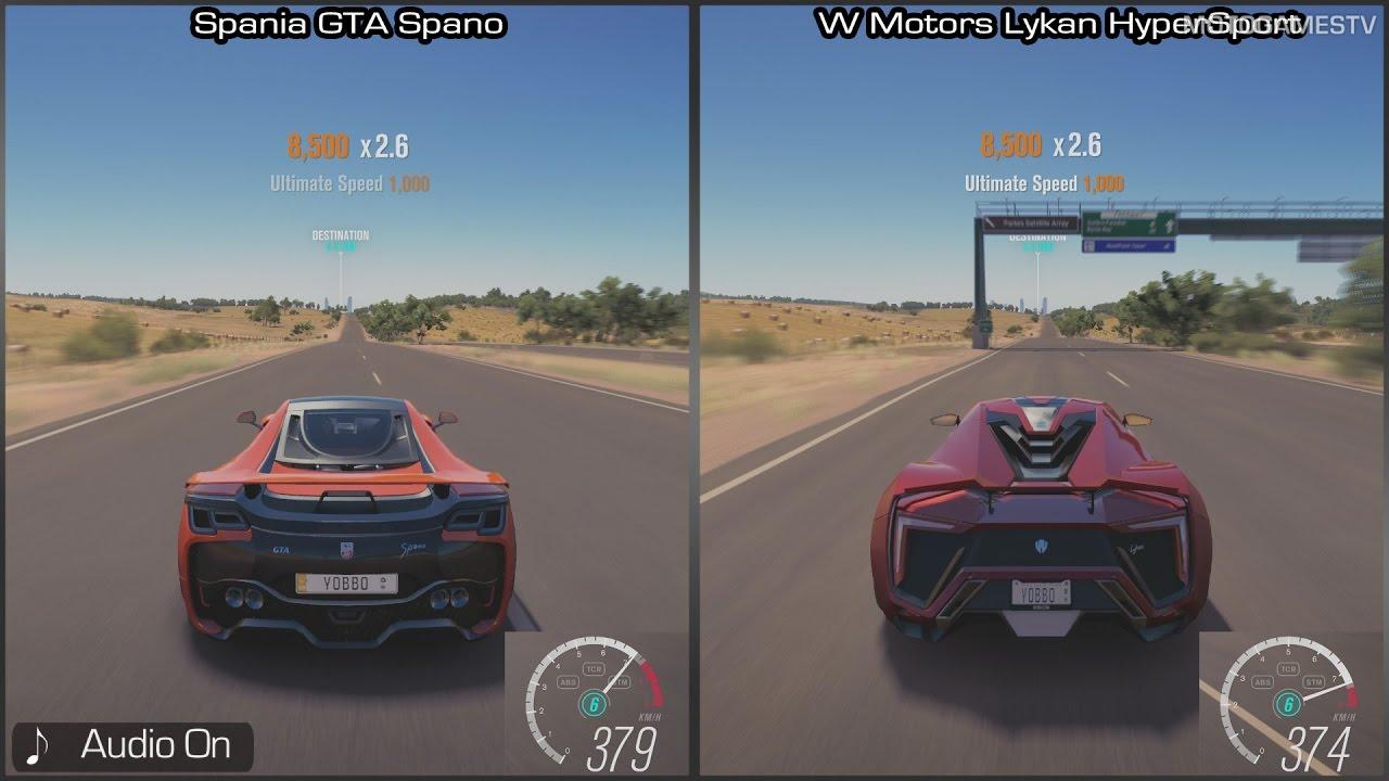 Forza Horizon 3   GTA Spano Vs Lykan HyperSport   Top Speed Comparison