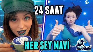 24 SAAT BOYUNCA HER ŞEY MAVİ!!! (Mavi Gözler, Mavi Çiğ Köfte, Havuz...)