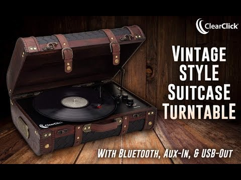 ClearClick VINTAGE WOODEN SUITCASE TURNTABLE WITH BT & USB