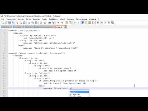 Minecraft Skript #1 - Pontrendszer Készítés