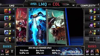 LMQ vs compLexity | S4 NA LCS Summer split 2014 Week 10 Day 1 | LMQ vs COL W10D1 G1 Full Game HD