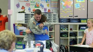 Returning soldier surprises son in class at Graham Elementary