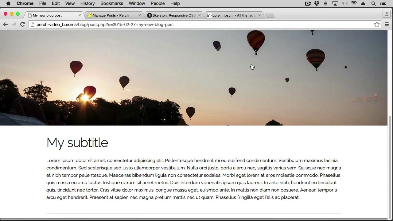 Using Blocks to create a photo essay blog post - Perch CMS