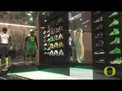 Oregon Football Uniform Display Wall