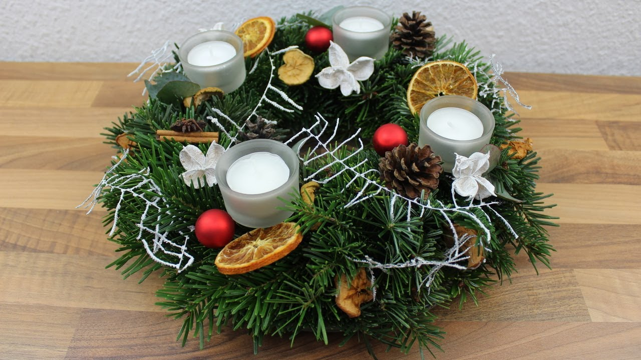 weihnachtsdeko adventskranz deko ideen mit flora shop youtube. Black Bedroom Furniture Sets. Home Design Ideas