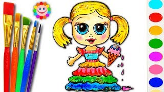 How to Draw Baby Doll Coloring Page - Paint Rainbow Colors for Kids
