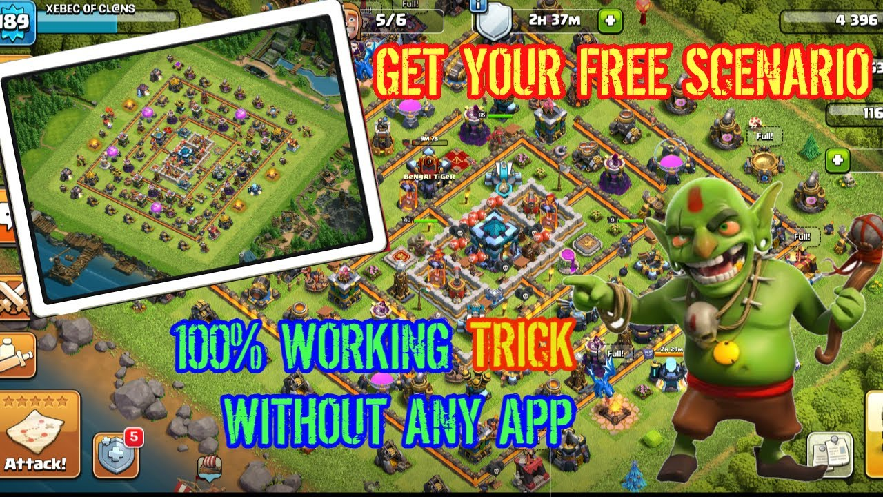 How to get free Scenary in Clash of clans    100% Working Trick without any app   Aerodynamic Gamer
