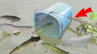 We Survival - Making Fish Trap Using Plastic Basket