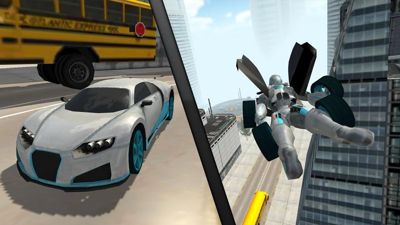 Car Simulator Games >> Flying Car Robot Simulator Android Gameplay HD - YouTube