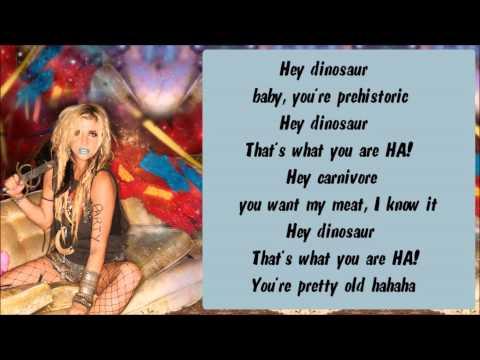 Ke$ha - Dinosaur Karaoke / Instrumental with lyrics on screen
