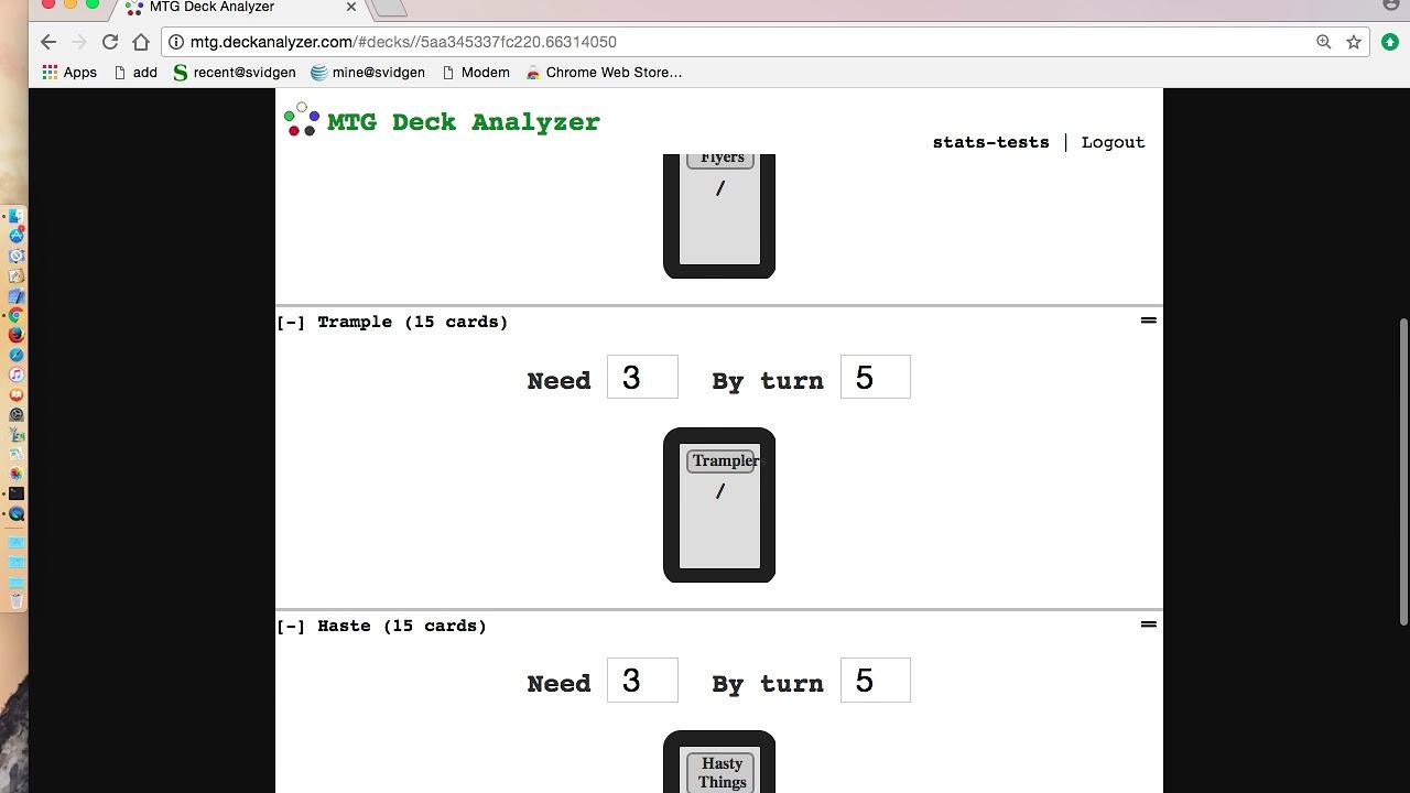 basic deckbuilding stats with MTG Deck Analyzer
