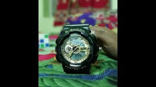 G - shock protection watch reviewing black&golde