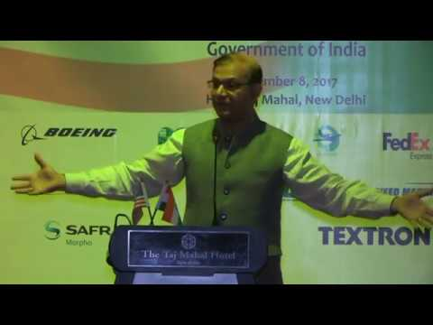 MoS for Civil Aviation Jayant Sinha addressing the US-India Aviation cooperation programme