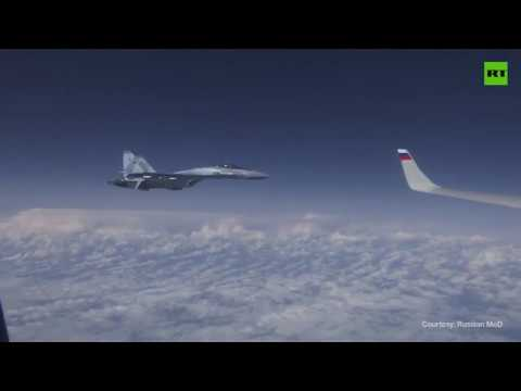 Sukhoi Su-27 chase away NATO F-18 jet shadowing Russian defence minister's plane