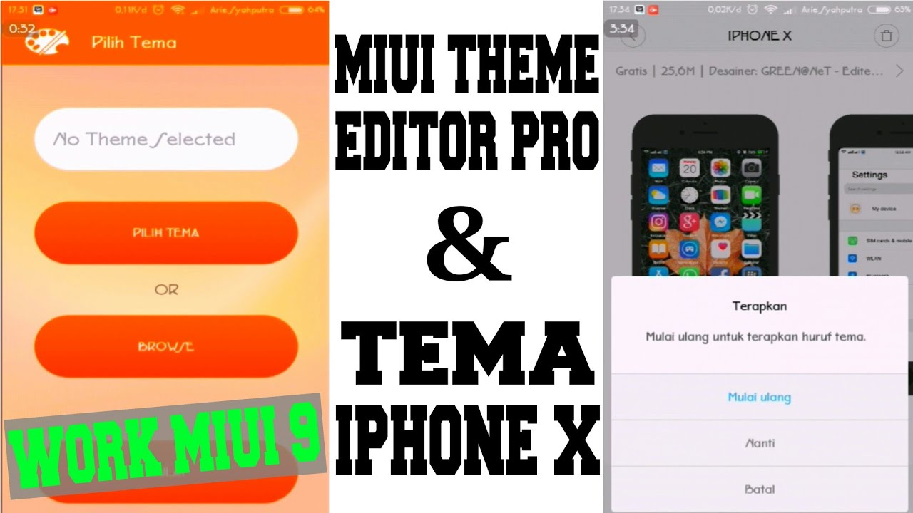 MIUI THEME EDITOR PRO + TEMA IPHONE X (Work MIUI 9) MIUI 9 5 x x NOT WORK