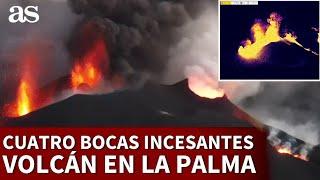 VOLCÁN EN LA PALMA | CUATRO BOCAS incesantes a vista de DRON a COLOR y TÉRMICO | Diario AS