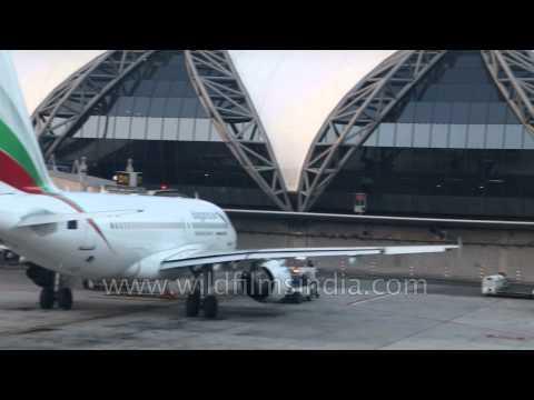 Plane landing at Suvarnabhumi Airport in Bangkok