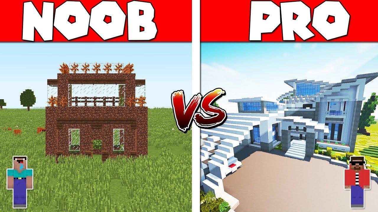 🏠Minecraft: NOOB vs PRO - MODERN HOUSE BUILD CHALLENGE in ...