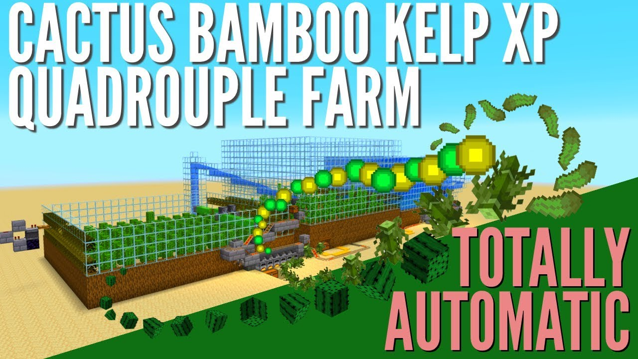 XP Farm: How to make an Infinite Automatic Kelp and Cactus Farm in  Minecraft 10.104 With Avomance