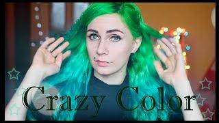 Обзор цветных красок для волос. Краска Crazy Color. Окрашивание в яркий цвет.
