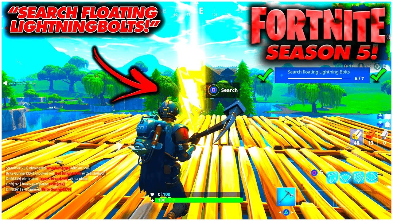 search floating lighting bolts season 5 week 1 fortnite challenge fortnite battle royal week 1 - fortnite search floating lighting bolts