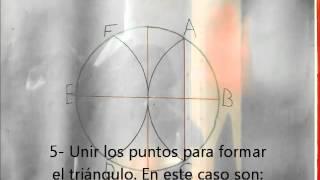 Triangulo, Hexágono en base a una circunferencia