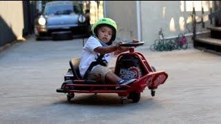 Hunter Drifting His Razor Crazy Cart At 3 Years Old!