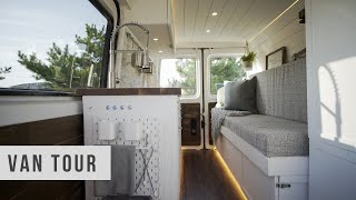 VAN TOUR | Micro Sprinter Tiny Home on Wheels | Low Budget DIY Conversion