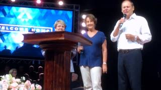 Pastor Fred Roberts welcomes Miki & Audrey Hardy to a celebration at Durban Christian Centre
